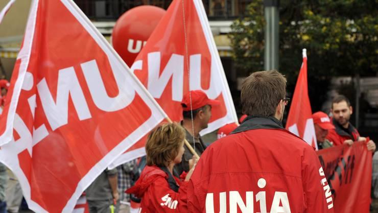 Die Unia veranstaltete am Montagmittag eine Aktion (Symbolbild)