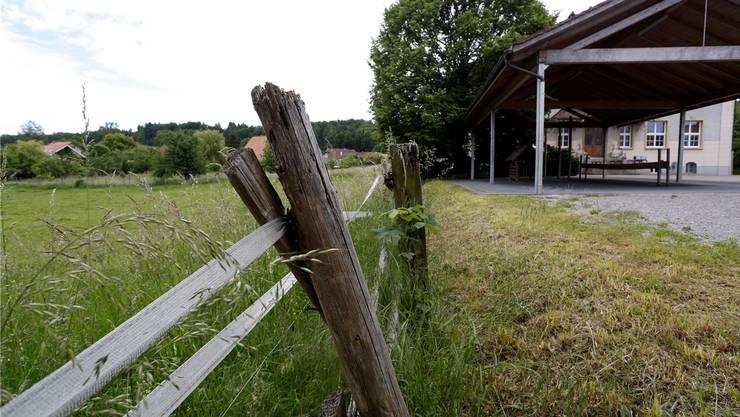 Unter diesem Zaun kroch der Junge hindurch, um den Ball auf der Weide zurückzuholen.