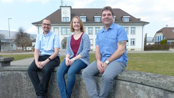 Gemeinderatskandidaten der SP Obergösgen (v.l.): Dominik Kissling, Jasmin Richiger und Kilian Hasanow.