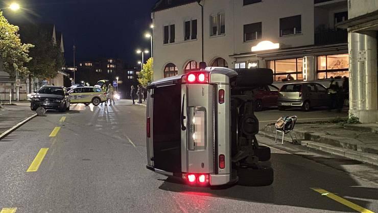 Der Jeep kam in Turgi von der Strasse ab...