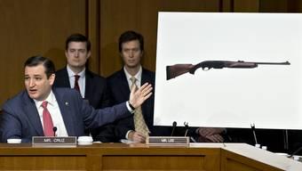 Der Republikaner Ted Cruz zeigt während der Waffendebatte im US-Senat auf die Abbildung einer Remington 750, eine in den USA weit verbreitete Jagdwaffe