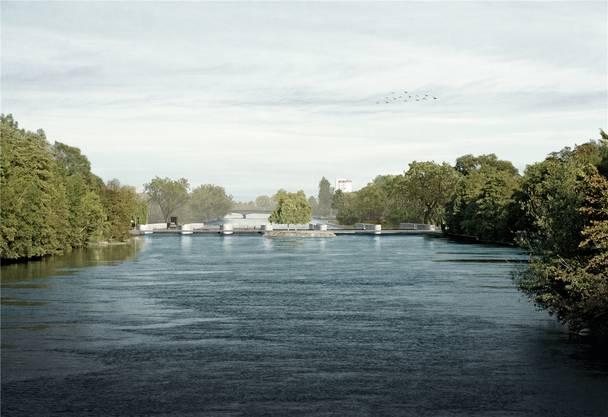 Kaum mehr zu sehen: Das von der Eniwa geplante neue Aarekraftwerk westlich der Kettenbrücke (künftig «Pont Neuf»). Es sieht aus wie das neue Rüchlig-Werk.