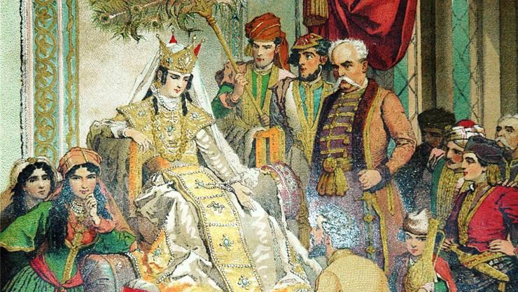 Schota Rustaweli widmet sein Nationalepos der Königin Tamara (1160–1213), auf einem Gemälde von Mihály Zichy von 1880.