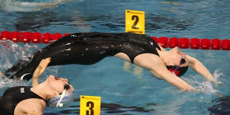 Carla Stampfli startet im Vorlauf über 50m Rücken an den Europameisterschafte in Eindhoven am Samstag, 22