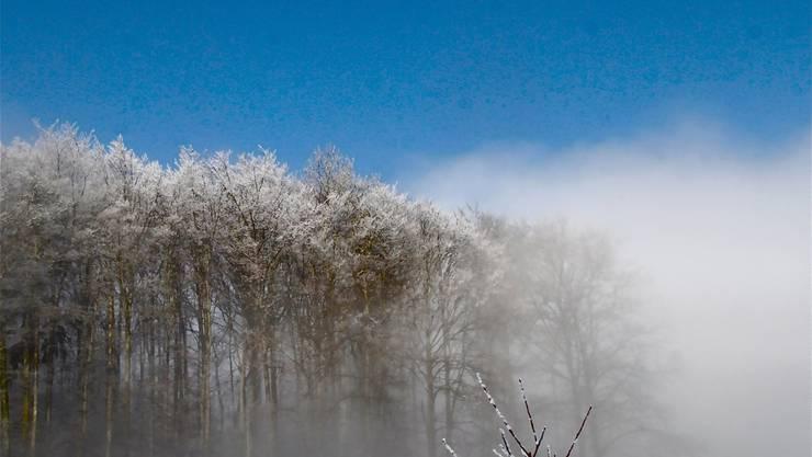 Wasserstoffbombe? Nein, nur die Sonne im Nebel oberhalb von Kindhausen.