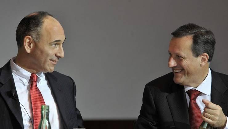Stabsübergabe bei Novartis: «Joe» Jimenez (links) folgt auf Daniel Vasella an Konzernspitze.