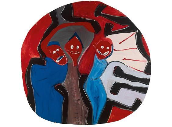 Klaudia Schifferle, Wände haben Ohren, 1981, Lackfarbe auf Wellkarton, 146 cm Durchmesser, Kunstmuseum Solothurn
