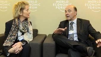 Bundesrätin Eveline Widmer-Schlumpf traf am WEF den französischen Finanzminister Pierre Moscovici