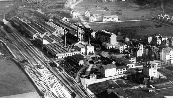 Das Wagi-Areal verdankt seinen Namen der Wagons- und Aufzügefabrik Schlieren (Bild um 1925).