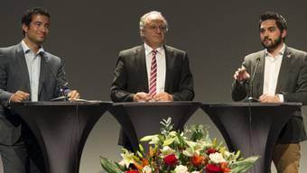 Nationalräte (v.l.): Caroni, Leutenegger und Wermuth an der DV