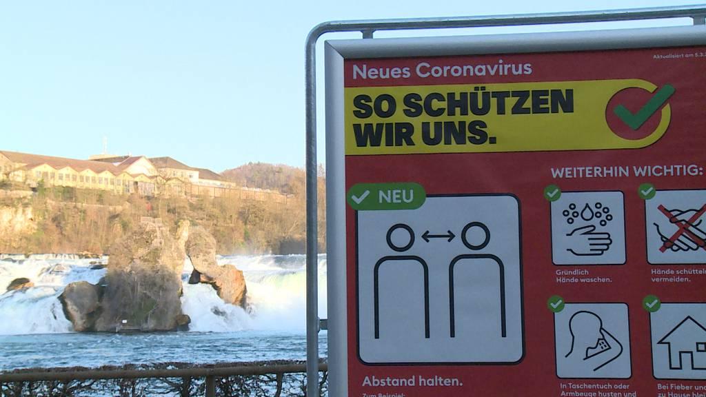 Der Rheinfall ist menschenleer - Einheimische treffen sich am Schaffhauser Lindli