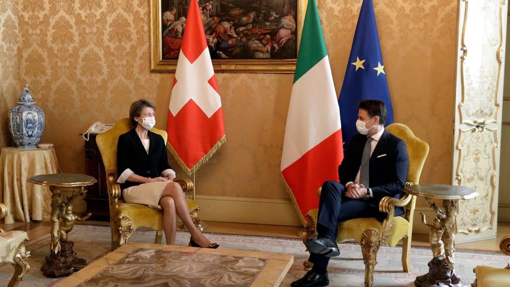 Simonetta Sommaruga traf am Dienstag unter anderem den italienischen Regierungschef Giuseppe Conte in Rom.