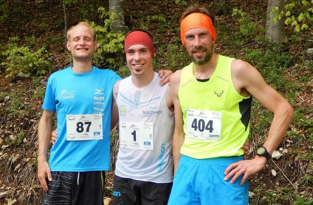 Von links: Marius Füeg (3.), Jérémy Hunt (1.) und Gilles Bailly (2.).