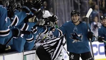Sharks-Stürmer Timo Meier verbucht in Spiel 3 gegen die Anaheim Ducks zwei Punkte.