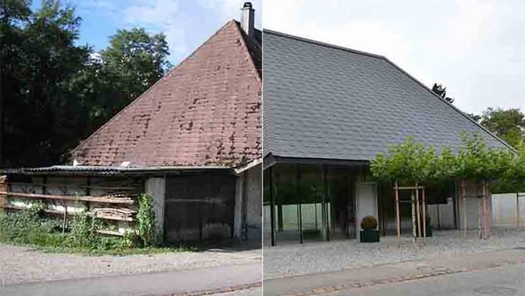 Das Hochstudhaus in Obergösgen früher und heute. Ausgeführt wurden Abbruch, Aushub und Neubau zwischen Mai 2014 und Herbst 2015. Exakt erhalten sind Form und Grösse des alten Daches.