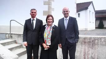 Bundesrat Didier Burkhalter (FDP) mit Ständerats-Präsidentin Christine Egerszegi (FDP) und Bundesrat Alain Berset (SP) – ein illustres Trio.