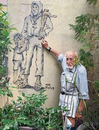 Amy Bollag arbeitet seit Jahrzehnten als Künstler. Auf sein Haus in Zürich malte er Wilhelm Tell.