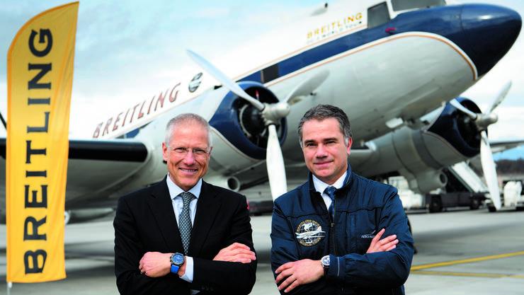 Vor dem Ablug auf dem Flughafen Genf. Der Oldtimer der Grenchner Firma landet auf seiner Weltreise in 28 Ländern