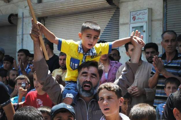 Friedliche Demonstration in Idlib, Syrien