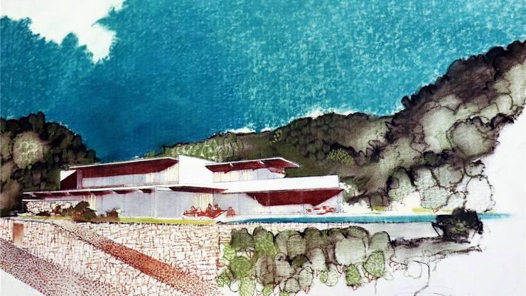 Mit prächtiger Aussicht auf die Stadt Baden: Auf der Felskuppe, wo das Restaurant Hertenstein steht, plante Neutra die Villa Sontheim.