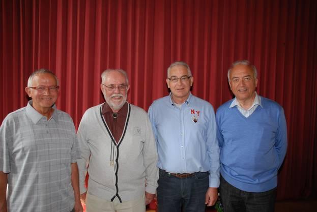 Wieder gewählt (von links): Hansjörg Sutz, Vizepräsident, Peter F. Wider, Präsident, Edgar Kalt und Thomas Müller-Schill. Dem Vorstand gehört weiter Luciana Bachmann an (ferienabwesend an der MV).