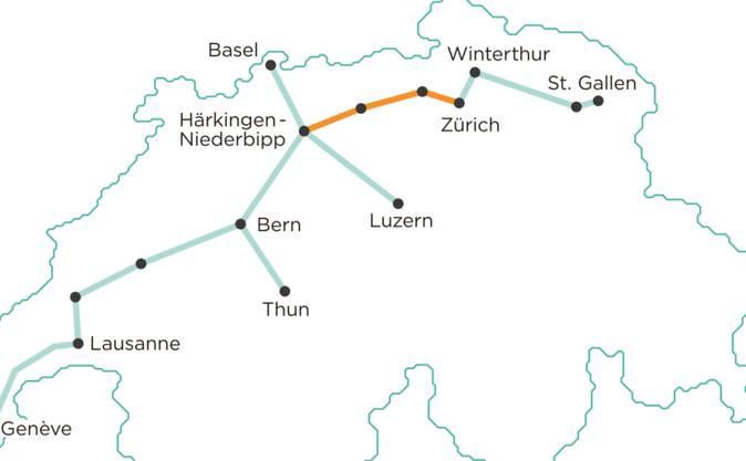 Das ist eine mögliche Streckenführung für das unterirdische Gütertransportsystem Cargo sous terrain. Der Bundesrat will das Projekt nicht finanziell unterstützen, aber mit einem Gesetz. (Archivbild)