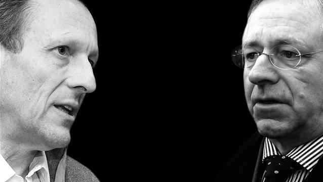 Daniel Vasella (links) «in die Knie gezwungen»: Aktionärsvertreter Hans-Jacob Heitz