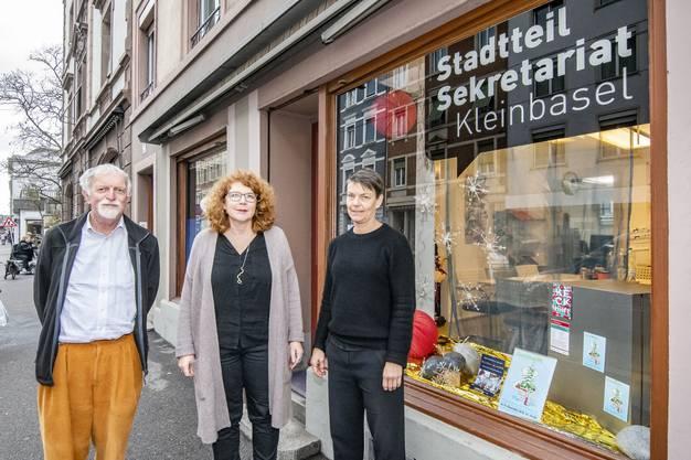 Urs Joerg mit den Co-Leiterinnen des Stadtteilsekretariats Theres Wernli und Heike Oldörp