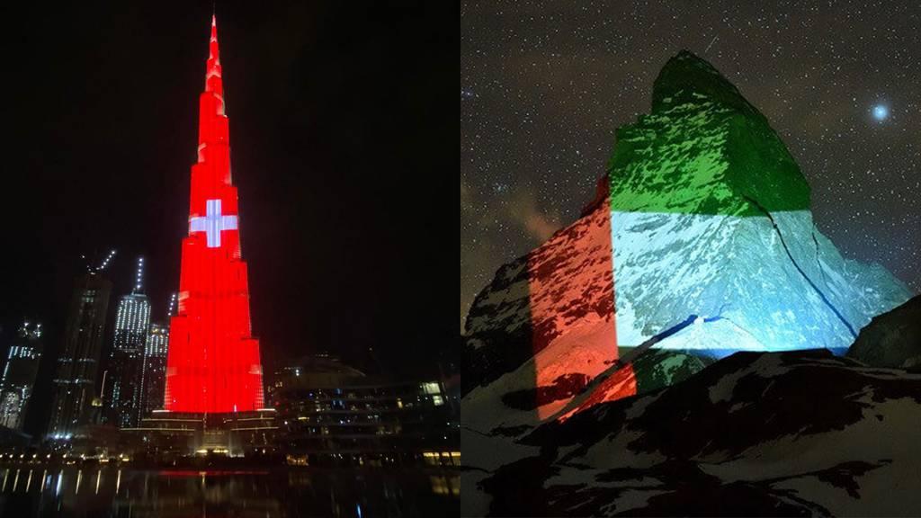 Schweizer Kreuz erleuchtet den Burj Khalifa
