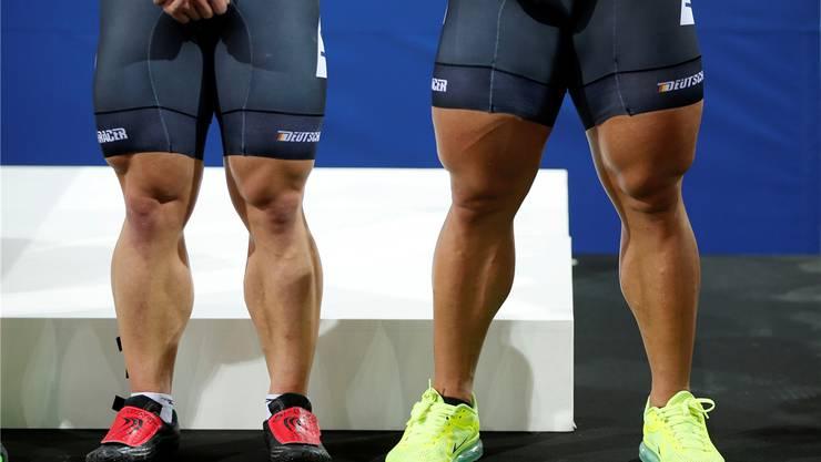 Kein Gendoping, sondern Natur: Radprofi Robert Förstemann (r.) verdankt die muskulösen Beine laut eigenen Angaben einem angeborenen Gendefekt.Charles Platiau/REUTERS