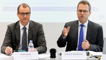 Stiftungsratspräsident Zanella (links) will nicht mehr über die 60000 Franken Lohnerhöhung von CEO Schönbächler (rechts) reden.