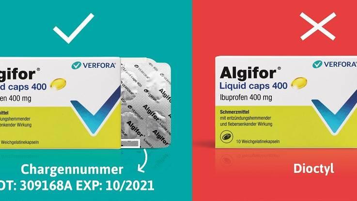 Swissmedic ruft einzelne Packungen von Schmerzmittel Algifor zurück