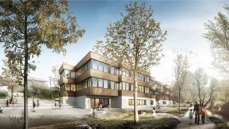So soll das neue Schulhaus Haldenacher aussehen. visualisierung