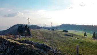 So sieht die SWG den künftigen Windpark auf dem Grenchenberg.