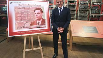 Grossbritannien bekommt neue 50-Pfund-Note - Ehrung für Alan Turing. (BoE-Chef Mark Carney präsentiert neuen Geldschein)