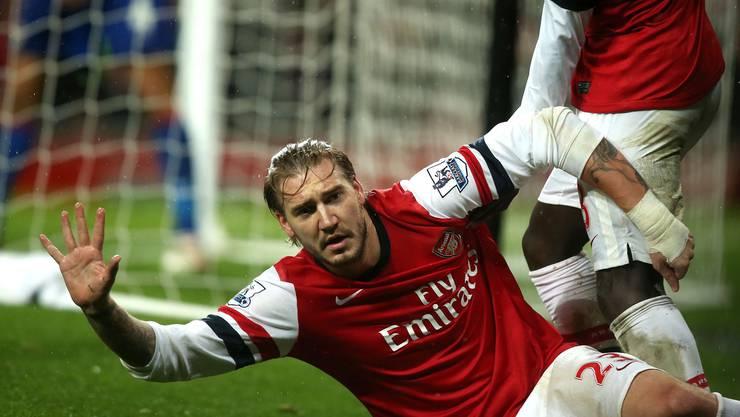 In der 88. Minute schiesst Nicklas Bendtner das 1:0 für Arsenal.