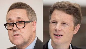 Links: Lukas Keller, Präsident Doppeltür. Rechts: Jonas Fricker, der im Nationalrat Judendeportationen mit Schweinetransporten verglich.