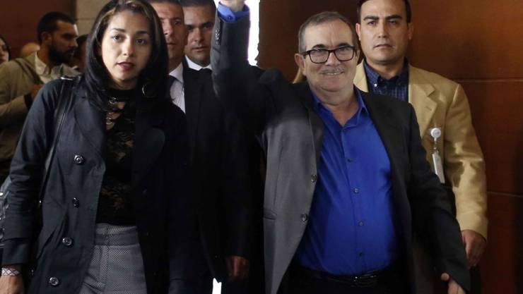 """Rodrigo """"Timochenko"""" Londoño, Chef der kolumbianischen Farc-Rebellen, bat die Opfer des Terrors seiner Organisation zum Prozessauftakt am Freitag um Vergebung."""