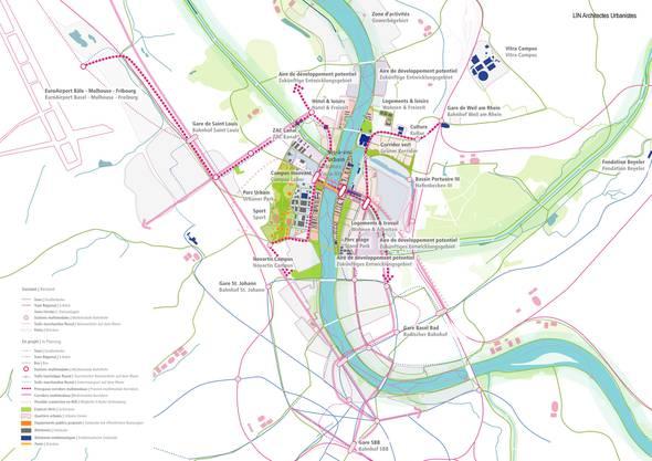 """Die Städte Huningue, Weil am Rhein und Basel präsentieren die Wanderausstellung """"Raumkonzept 3Land: drei Städte – eine Zukunft""""."""