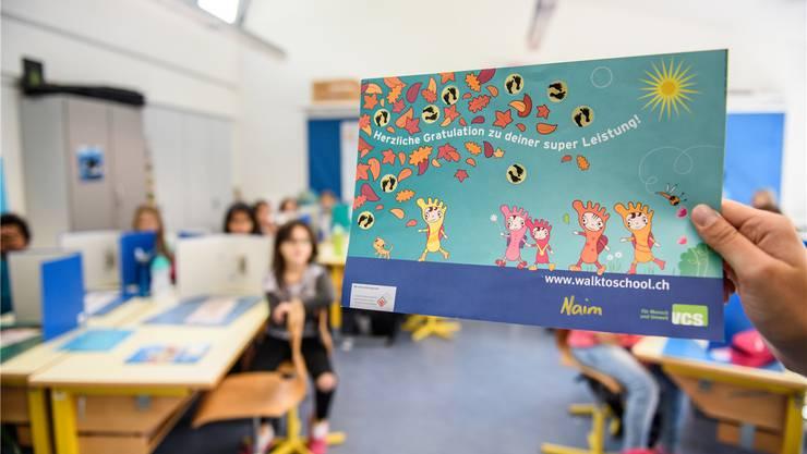 Auf diesem Blatt sammelten Grenchner Schülerinnen und Schüler die letzten zwei Wochen Punkte für jeden Schulweg, den sie zu Fuss gingen.