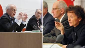 2020 Coronakrise: Die SVP-Bundesräte Ueli Maurer und Guy  Parmelin stellen das Rettungspaket vor. 2008 Finanzkrise: Eveline Widmer-Schlumpf, Pascal Couchepin und SNB-Chef Roth präsentieren UBS-Plan.
