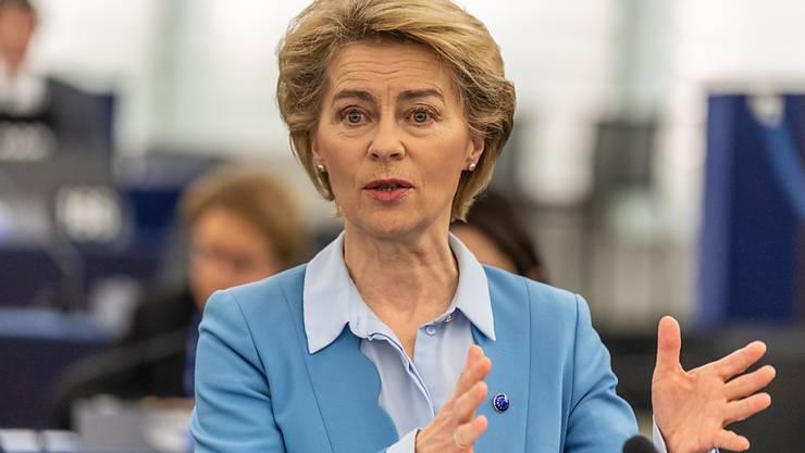 EU-Kommissionschefin Ursula von der Leyen am Dienstag im EU-Parlament in Strassburg.