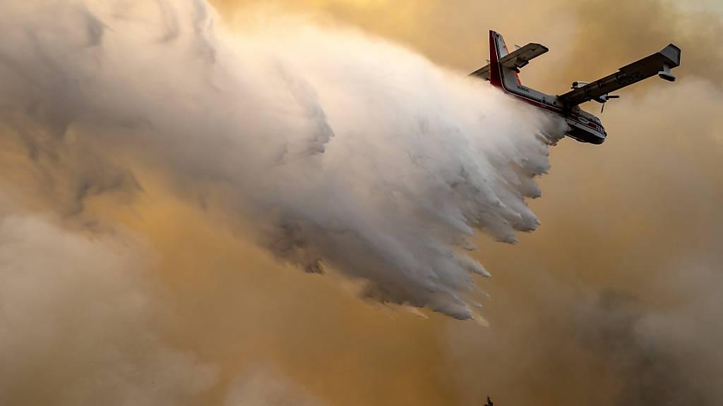 Ein Löschflugzeug wirft Wasser auf einen brennenden Bergrücken ab, wo eine Feuerlinie von Mannschaften der Waldbrandbekämpfung geschaffen wurde. Foto: Pete Caster/Lewiston Tribune via AP/dpa - ACHTUNG: Nur zur redaktionellen Verwendung und nur mit vollständiger Nennung des vorstehenden Credits