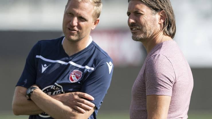 Trainer Marc Schneider (links) und Sportchef Andres Gerber, der designierte Präsident: Der FC Thun soll sich nach dem Abstieg auffangen