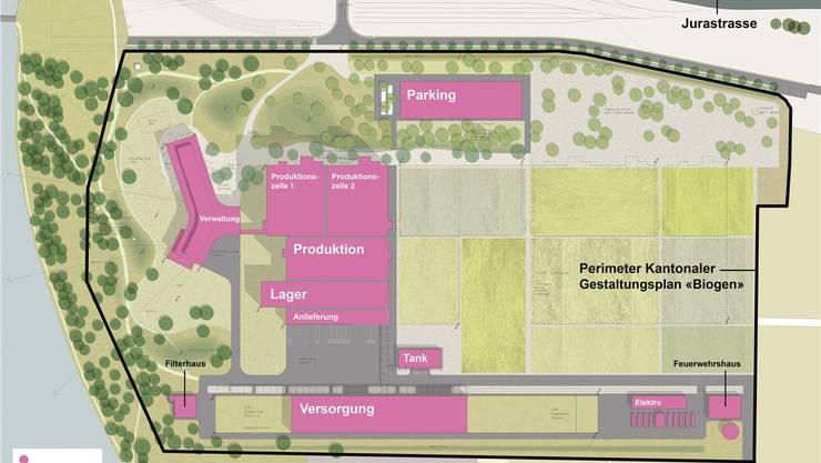 Am Ende könnten sieben Produktionszellen sowie weitere Produktions- und Versorgungsgebäude auf dem Areal stehen.