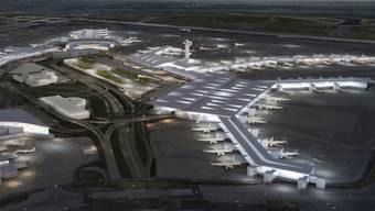 Zwei neue Terminals: Der New Yorker Flughafen Johne F. Kennedy soll bis 2025 für 13 Milliarden Dollar ausgebaut werden. (Computerbilder)