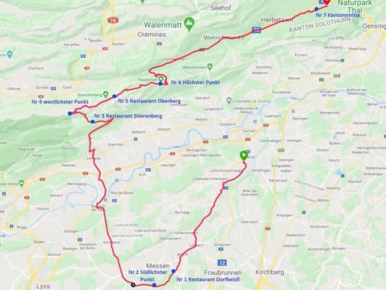 Die Route: Der 1. Teil absolvierte der Biberister per Bike