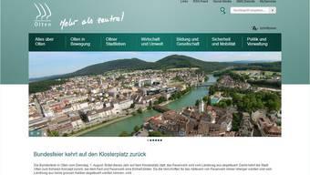 Die Ansicht des aktuellen Webauftritts der Stadt Olten.