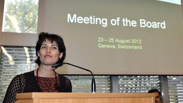 Bundesrätin Doris Leuthard an der Sitzung in Genf