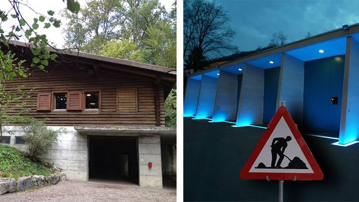 Hier werden die Rütihöfler Schüler seit zwei Wochen unterrichtet: In der Waldhütte Birmenstorf (links) und im Werkhof der Stadt Baden beim Schadenmühleplatz.